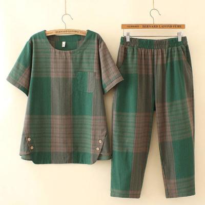 韩版夏季新款大码格子两件套百搭休闲裤宽松上衣女