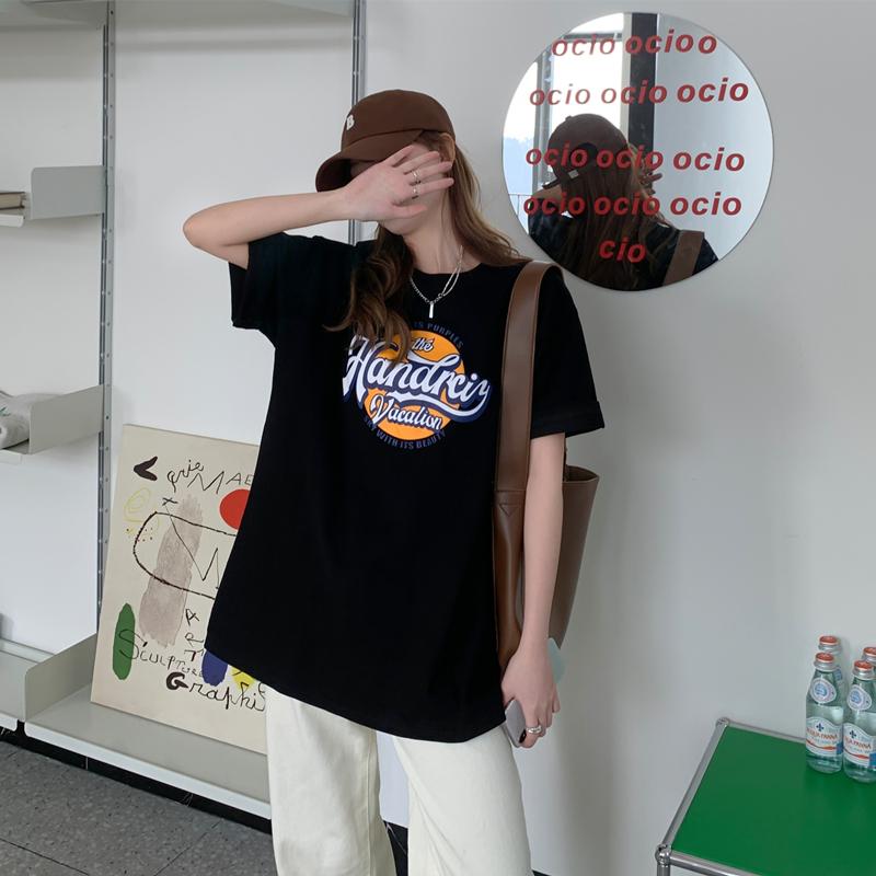 实价实拍黑色短袖t恤女夏2021年新款宽松网红ins超火韩版半袖上衣