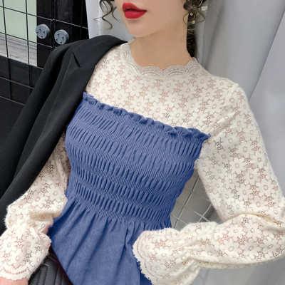 蕾丝拼接长袖衬衫2021早春新款洋气百搭收腰显瘦设计感小众上衣女