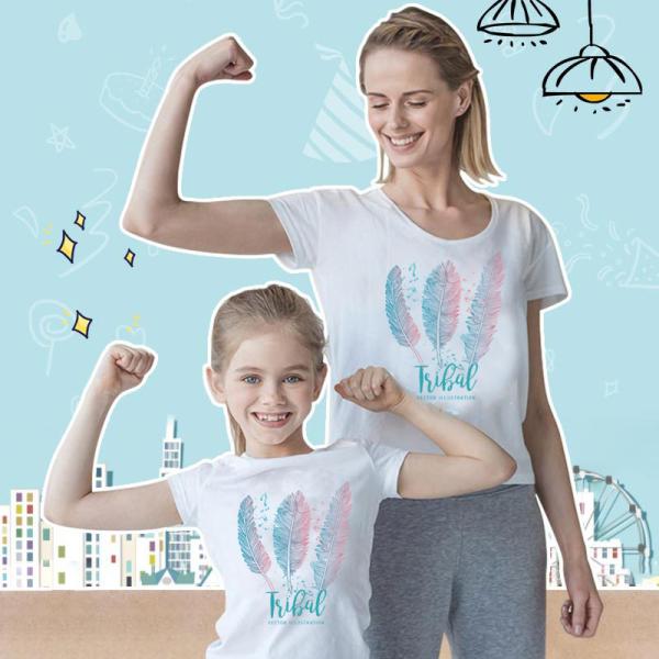 CP401#特价款!棉质夏季圆领宽松休闲亲子装羽毛印花短袖T恤