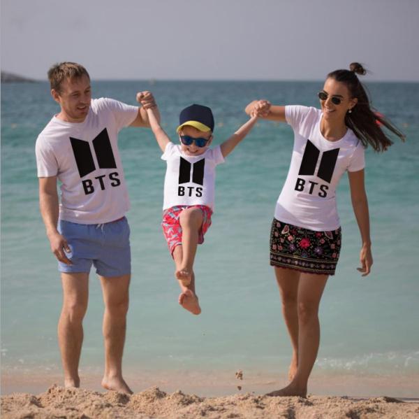 CP397#特价款!棉质夏季圆领宽松休闲亲子装BTS印花短袖T恤