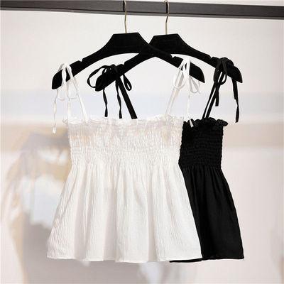 2021夏季韩版甜美无袖吊带背心女时尚修身上衣木耳压褶抹胸打底衫