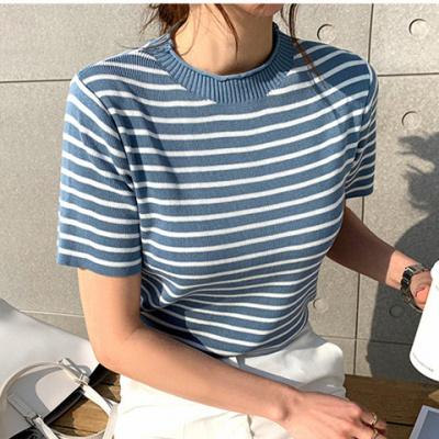 现货夏季新款韩版时尚条纹清新百搭休闲圆领冰丝针织T恤