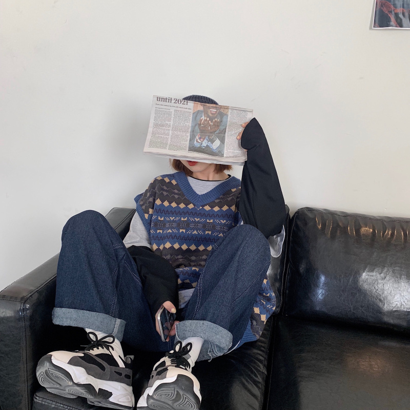 秋季2021新款韩版潮时尚百搭毛衣马甲宽松复古无袖v领针织背心女