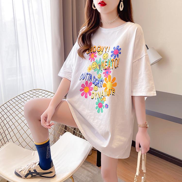 实拍 夏装新款韩版潮圆领字母印花短袖大码女装胖MM宽松T恤女