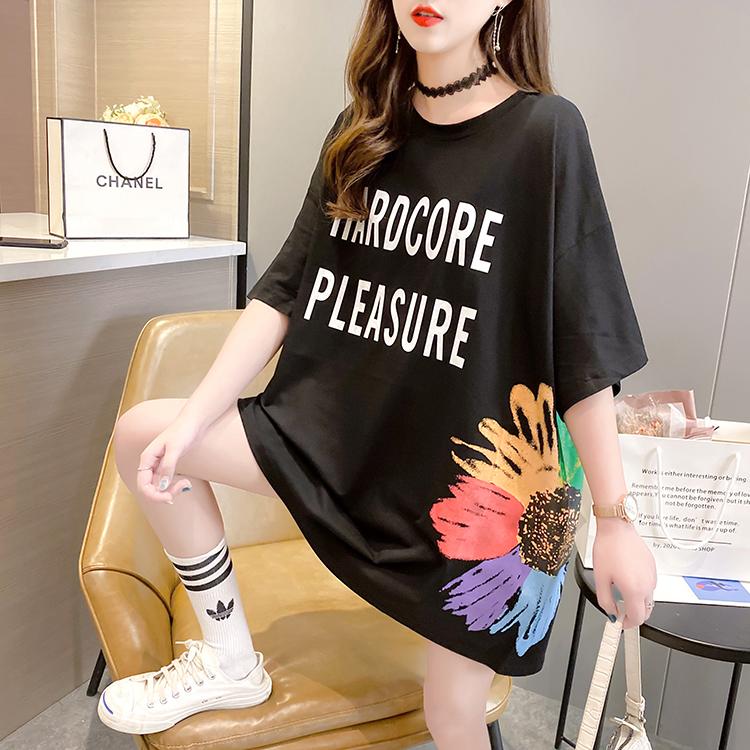 实拍 夏装新款韩版潮圆领卡通字母印花宽松大码女装胖MM短袖T恤女