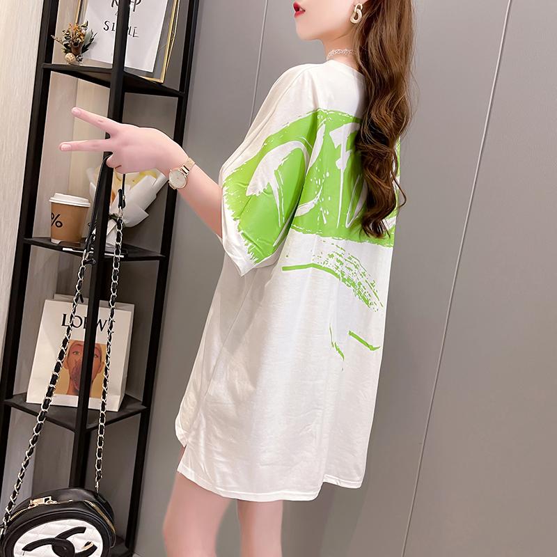 实拍 2021春夏装新款T恤女洋气韩版宽松显瘦气质短袖t恤女上衣潮
