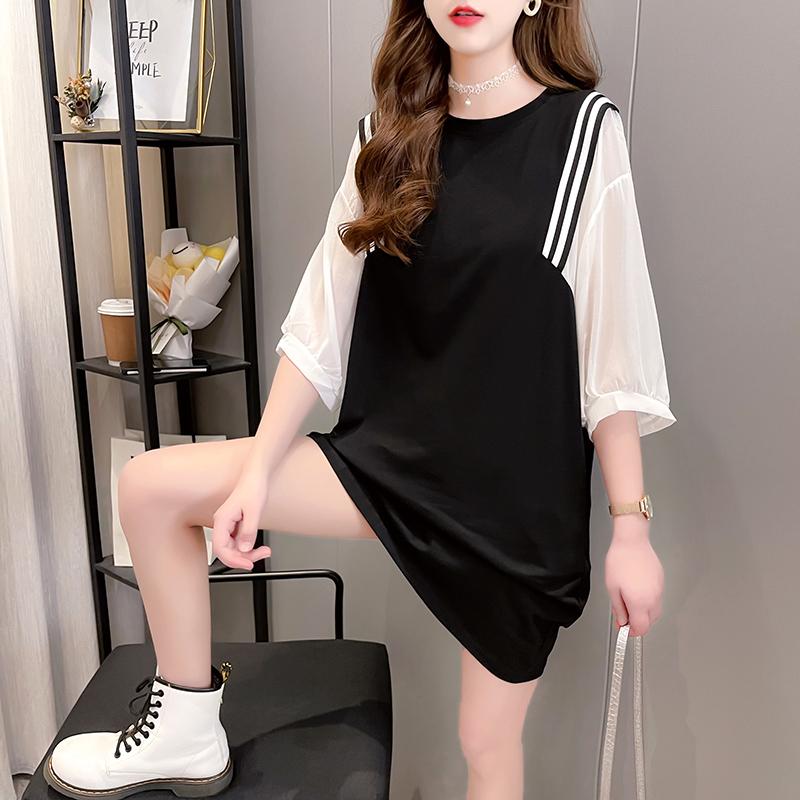 实拍 雪纺拼接假两件短袖T恤女夏装2021新款宽松洋气半袖连衣裙子