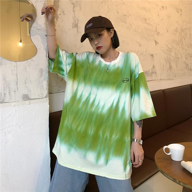 夏装实拍~新款韩版圆领宽松大码字母印花中长款胖MMins短袖T恤女
