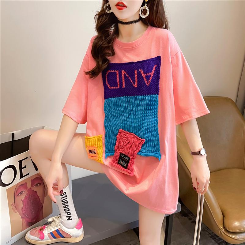 实拍 短袖T恤女春季2021新款洋气内搭打底衫拼接炸街上衣服ins潮