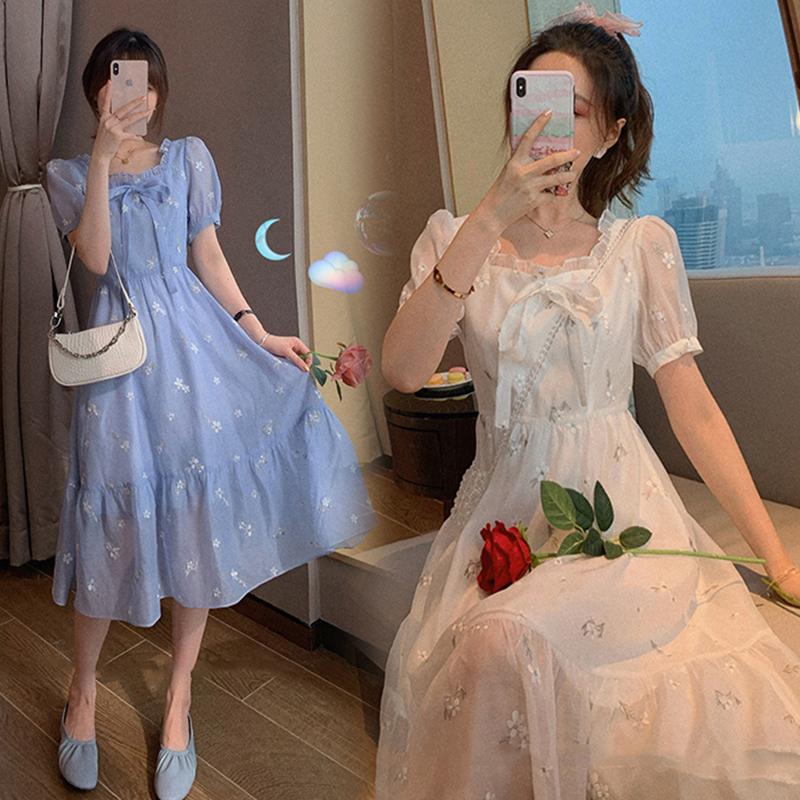 郭郭定制 方領泡泡袖歐根紗連衣裙女夏復古法式收腰蓬蓬裙