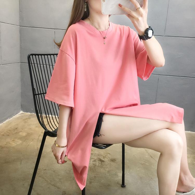 夏装实拍~新款韩版圆领宽松大码纯色开叉中长款ins短袖T恤女