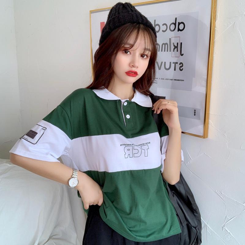 实拍65/35 2021夏季新款POLO领短袖t恤女拼色印花字母翻领上衣