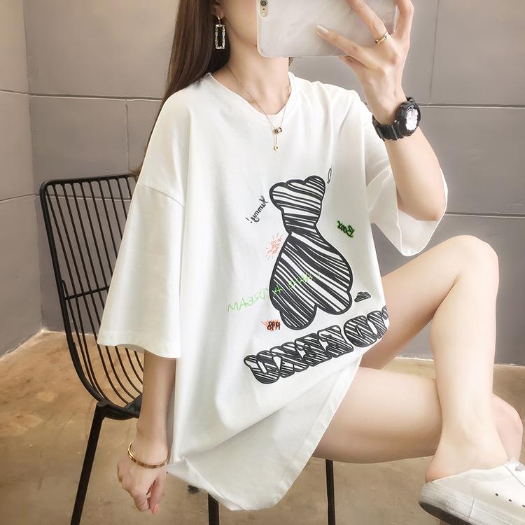 夏装实拍~新款韩版圆领宽松大码字母印花中长款ins短袖T恤女