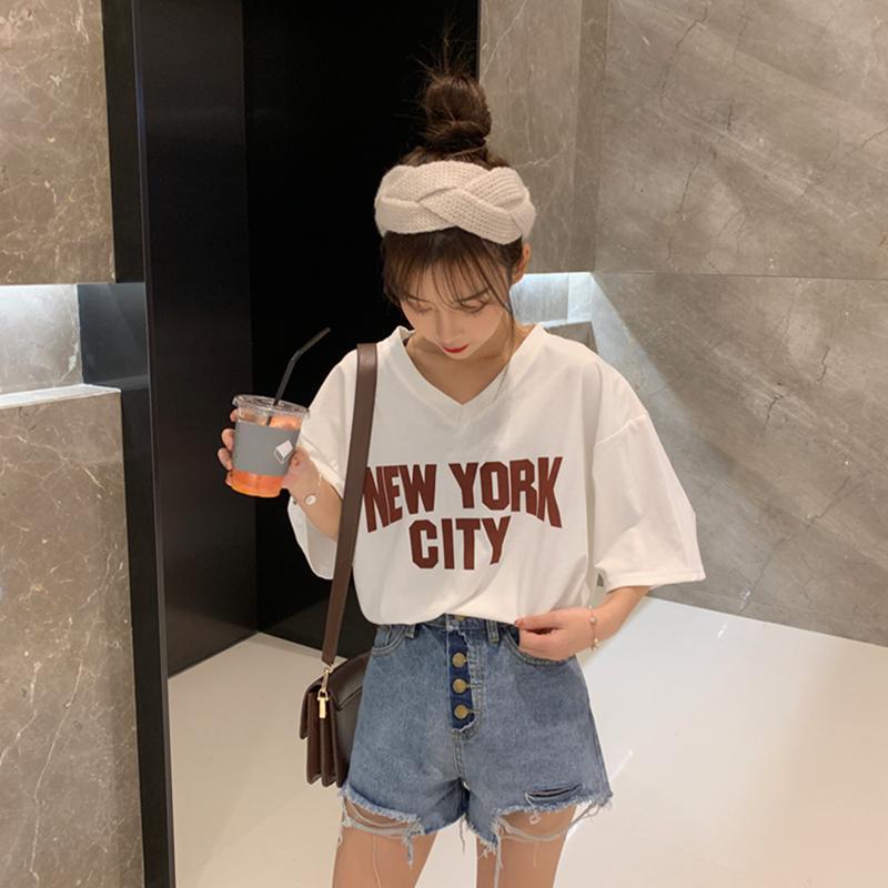 实拍~夏装韩版chic简约V领字母印花短袖T恤
