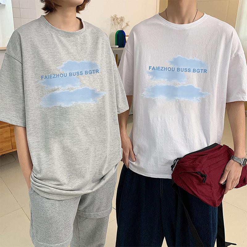 实拍潮流宽松短袖T恤印花时尚网红扎染上衣韩版潮爆纯棉