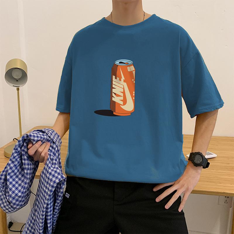 实拍潮流宽松短袖T恤印花时尚网红可乐罐上衣韩版潮爆纯棉