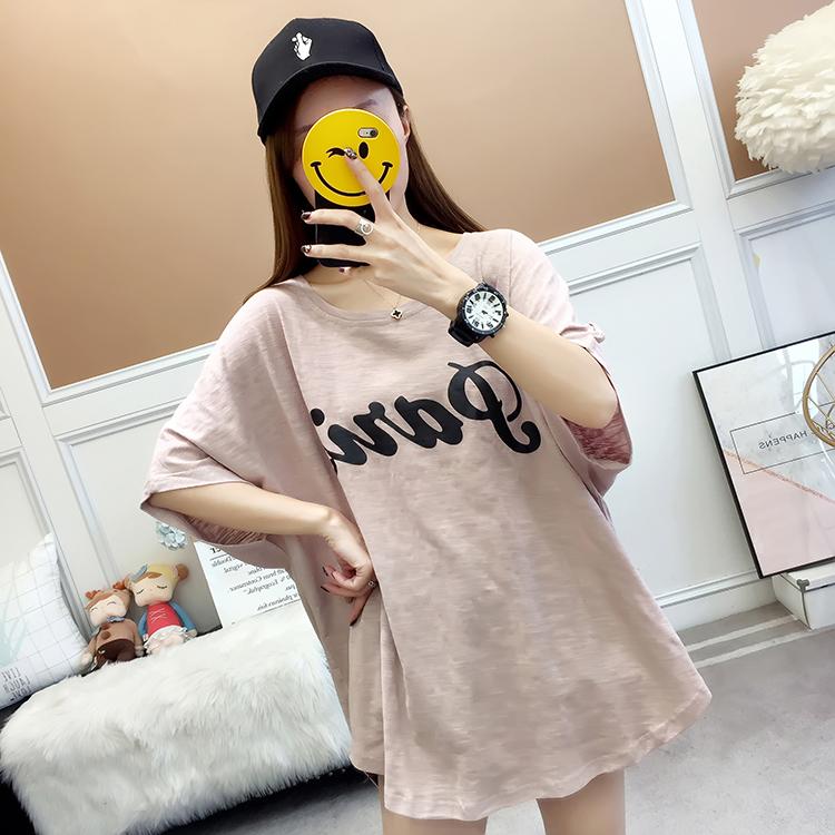 2021夏装实拍~短袖t恤女装韩版宽松百搭字母体恤中长款竹节棉