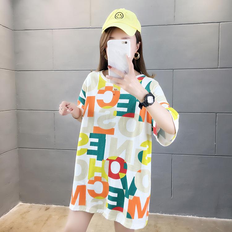 2021实拍~夏装新款韩版宽松大码女装中长款字母印花圆领短袖T恤