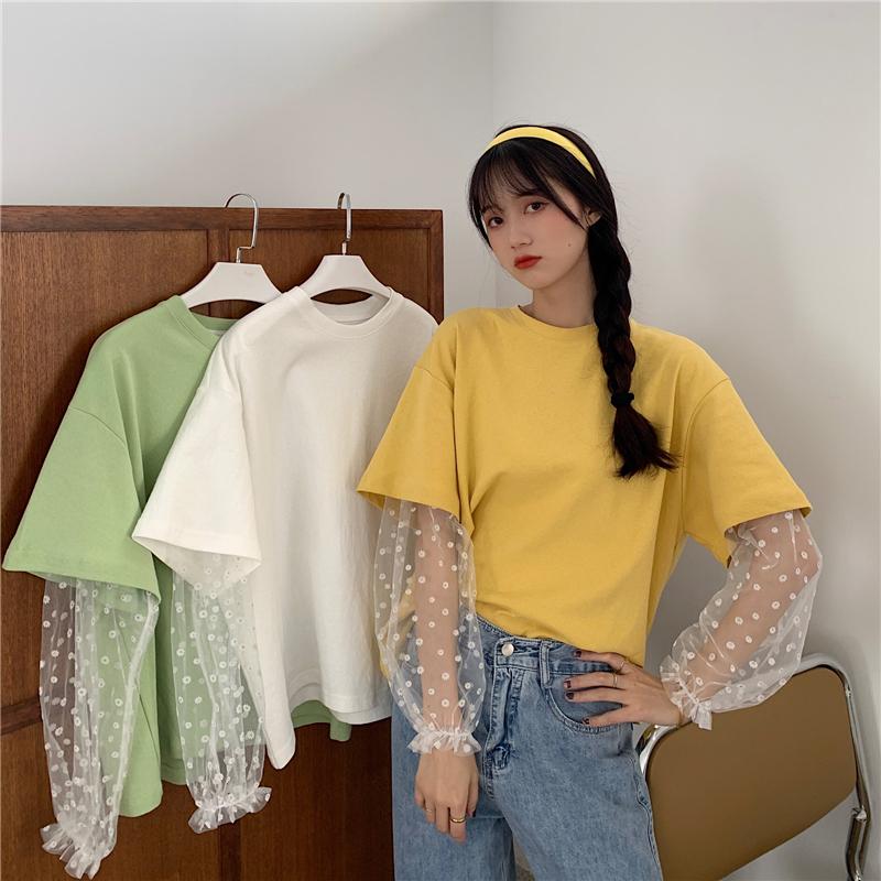 夏装实拍~新款韩版圆领宽松大码假两件中长款ins短袖T恤女