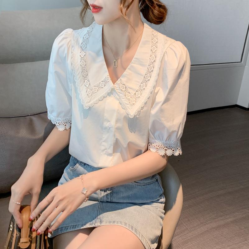 实拍夏季韩版娃娃领娃娃衫衬衫女泡泡袖上衣白色花边蕾丝雪纺衫女