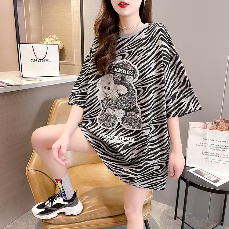 实拍 夏装新款韩版潮圆领卡通印花短袖宽松大码女装胖MMT恤女