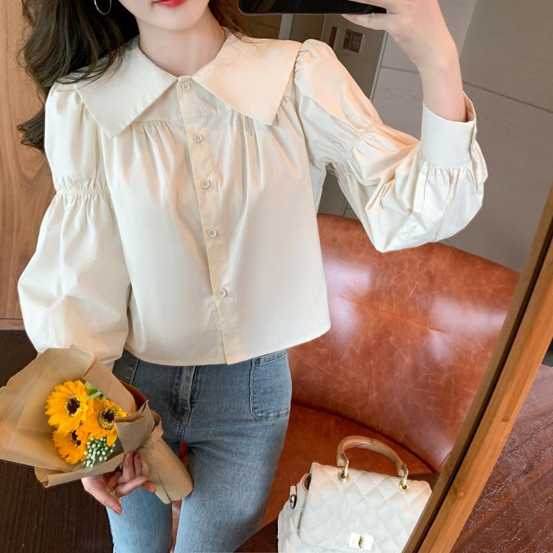 实拍春装2021年新款法式小个子衬衫女设计感小众宽松百搭长袖上衣