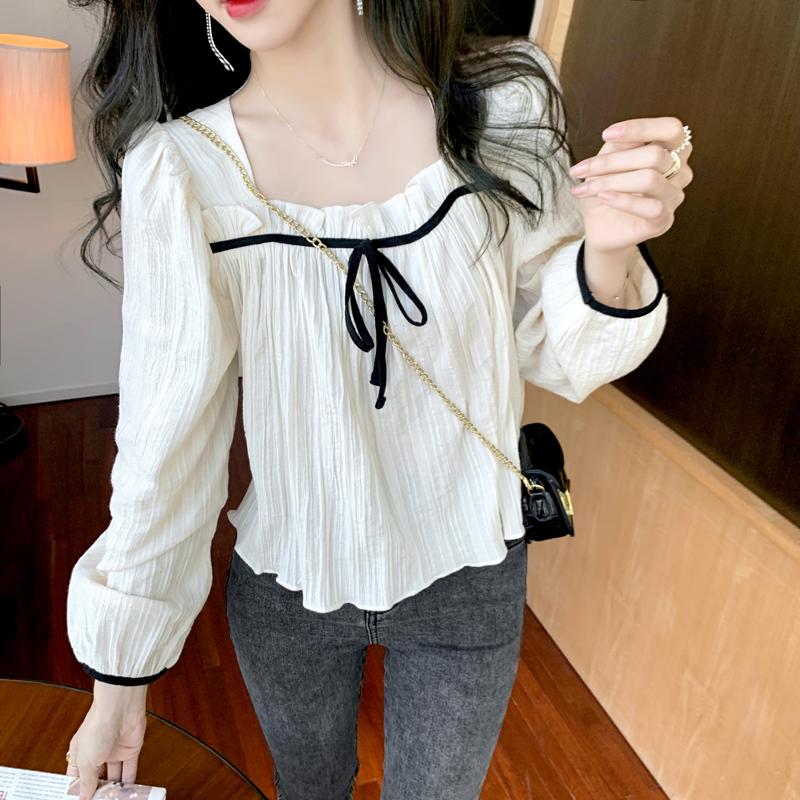 实拍2021春夏装新款韩版方领显瘦温柔杏色短款衬衫上衣女雪纺衫