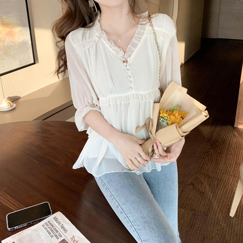 实拍雪纺衫女短袖夏季2021新款韩版宽松v领小衫超仙雪纺衫上衣