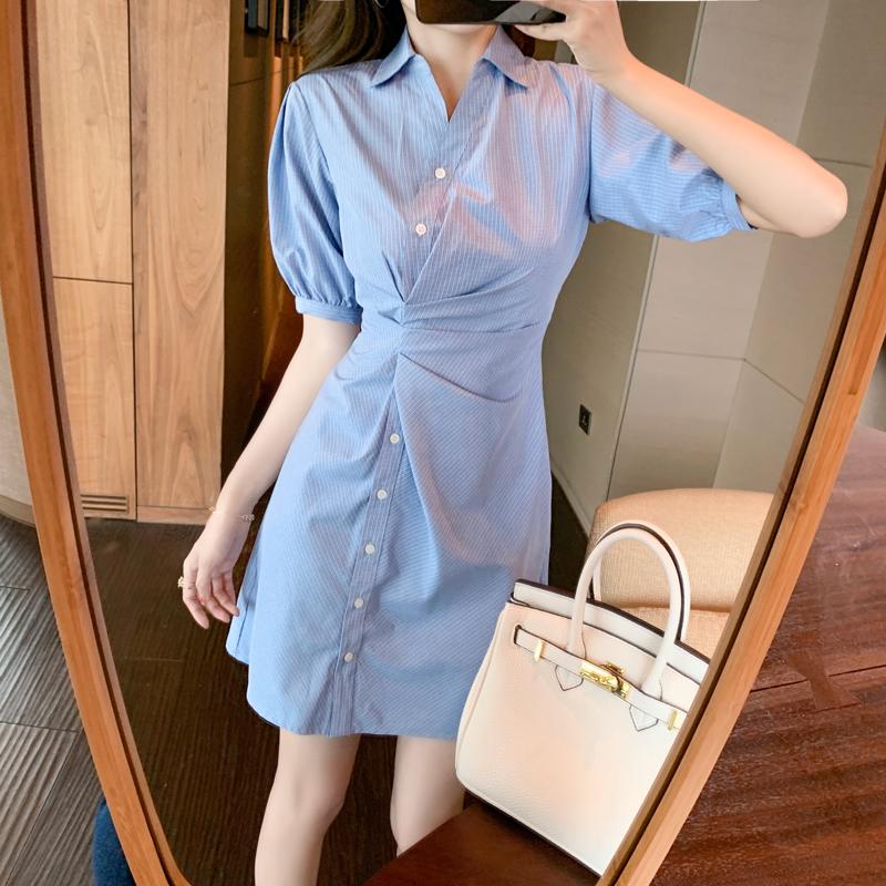 实拍设计感小众中长款衬衫裙子小清新可盐可甜气质显瘦连衣裙女夏