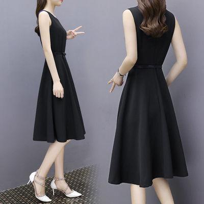 2021法式小黑大码连衣裙女胖m无袖夏季中长裙系腰带修身显瘦A字裙