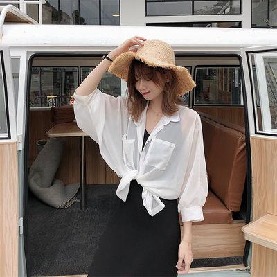 2021夏季防晒衣女韩版宽松百搭超薄雪纺潮开衫长袖衬衫外套