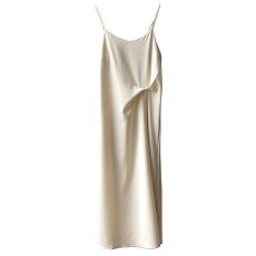 实拍~法式复古吊带连衣裙女2021夏季缎面细肩带中长款裙子