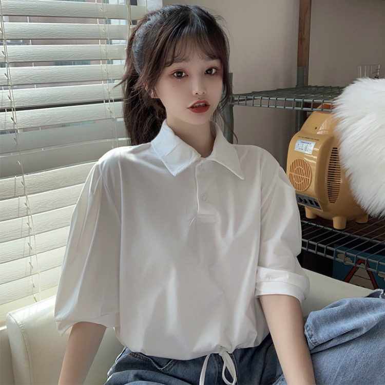 实拍polo衫短款短袖t恤女韩版宽松设计感露脐上衣