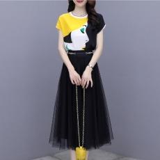 裙子套装2021女夏新款短袖真丝印花衬衫网纱半身裙时尚两件套装裙