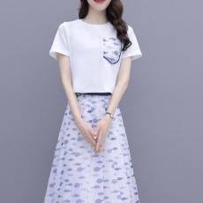 裙子套装女2021夏季新款纯色圆领t恤高腰印花半身长裙显瘦两件套