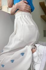 实拍#白色运动裤女春夏束脚宽松夏薄款直筒休闲卫裤垂感阔腿裤