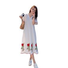 实拍~大码女装酒绣花棉麻连衣裙温柔风长裙胖mm显瘦气质短袖裙子