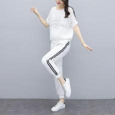 实拍2021夏季新款韩版短袖九分裤套装百搭洋气减龄休闲两件套女潮