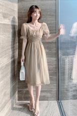 2021年夏天新款女装高级感茶歇法式炸街连衣裙女夏网纱仙女裙子