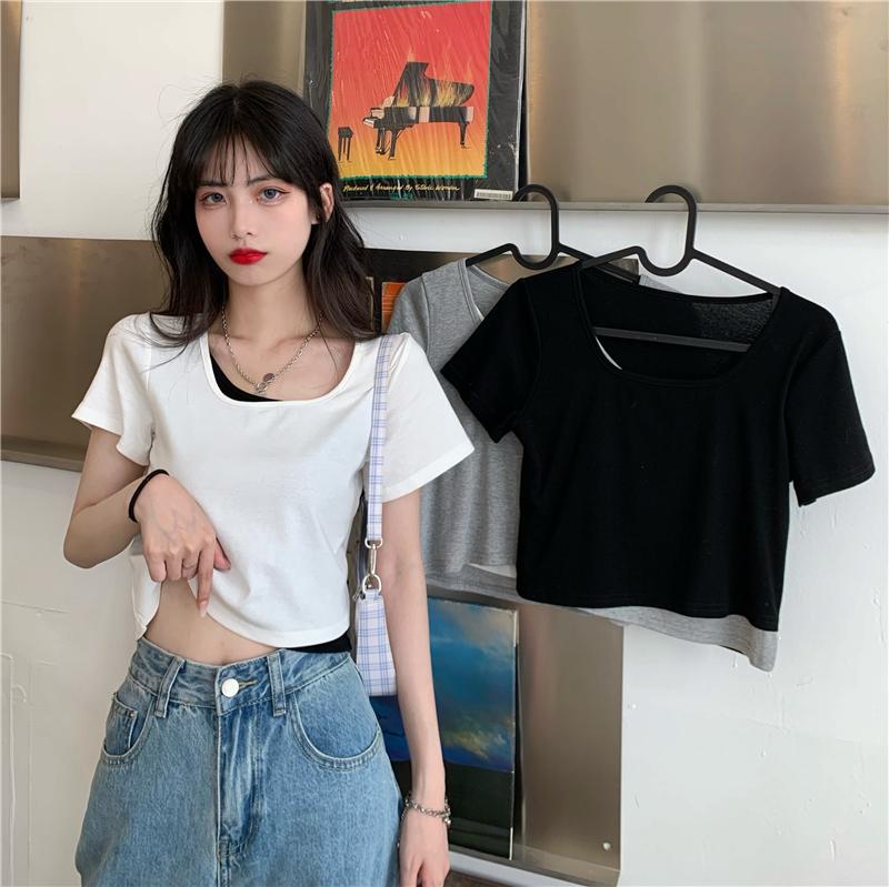 实拍实价T恤女夏季假两件短款设计感小众修身紧身性感短袖上衣ins