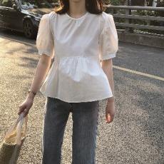实拍~2021夏季新款圆领娃娃衫女法式复古泡泡袖小衫显瘦衬衫女