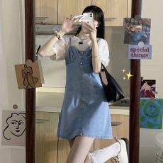 实拍 夏季韩版珍珠吊带牛仔连衣裙+网纱波点泡泡袖打底套装