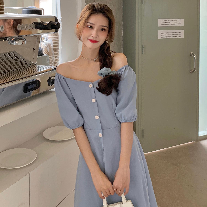 实拍实价夏季新款连衣裙学院风方领气质桔梗裙泡泡袖一字肩两穿裙