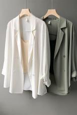 实拍~2021夏新款韩版网红薄款小西装外套女空调衫防晒衣宽松西服