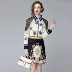 2021夏季新款蕾丝拼接长袖定位花衬衣气质时尚显瘦半身裙两件套潮