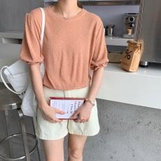 洋气短款小香风泡泡袖圈圈纱套头短袖针织衫