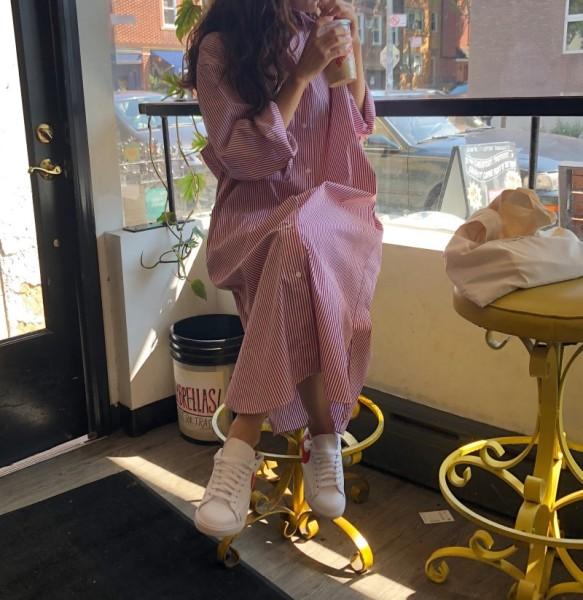 KY6971#韩国百搭小清新条纹Polo领单排扣长款衬衫式连衣裙