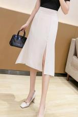 实拍2021新款中长款鱼尾开衩包臀不规则一步裙高腰显瘦气质职业裙