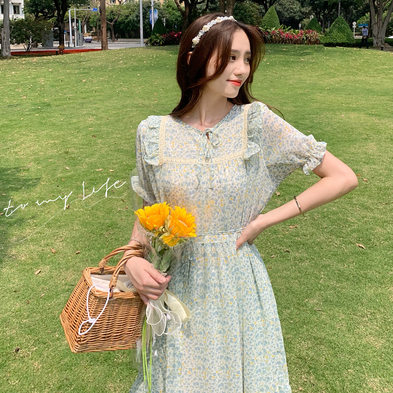 实拍夏季新款连衣裙超仙森系小清新碎花雪纺裙系带荷叶袖连衣裙仙